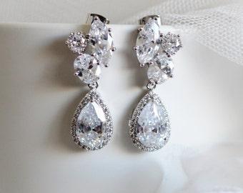 Crystal Bridal Earrings Crystal Wedding Earrings Wedding Jewelry Cluster CZ  Teardrop Earrings Bridal Jewelry Formal Prom Statement Earrings