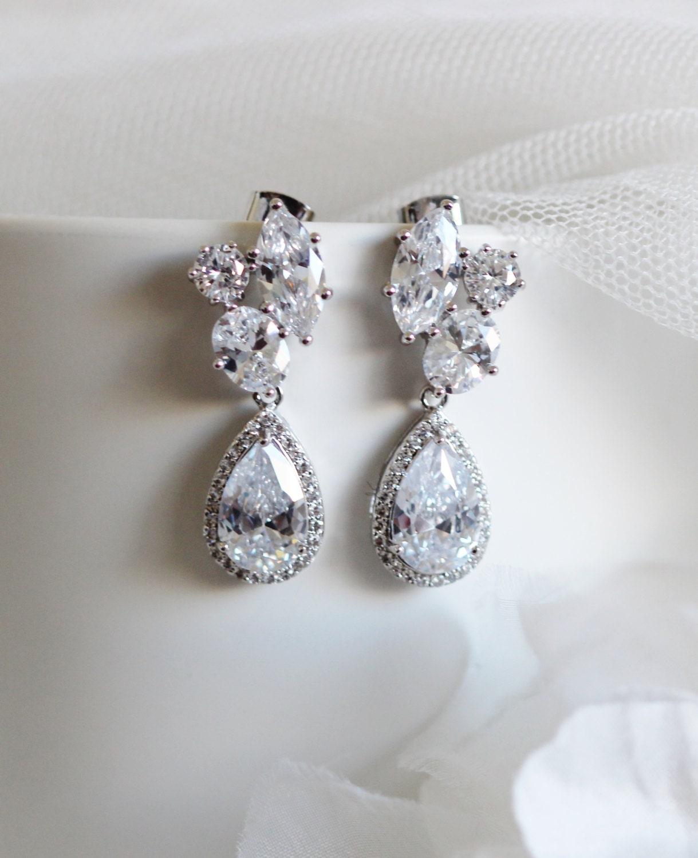 Crystal Bridal Earrings Wedding Jewelry Wedding Earrings Cluster CZ Earrings Bridal Jewelry Formal Prom Statement Earrings