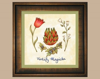 Fortify Magicka - Skyrim Red Mountain Flower, Tundra Cotton, Jazbay Grapes, Briar Heart Watercolor Print, Botanical Elder Scrolls Video Game