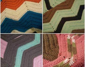 SALE**sale**CUSTOM**Chevron crochet baby blanket throw 29x36 **CUSTOM**