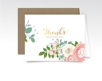 JENNY . Thank You Custom Cards & Envelopes . Printed Heavy Weight Premium Folded Cards . Rose Gold Copper Calligraphy Pink Peony White Roses