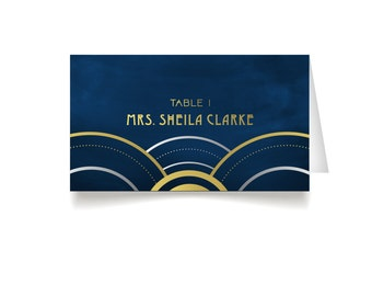The ALICE . Place Cards . Art Deco Great Gatsby 1920s Gold & Black Navy Military Nautical . Wedding Seating Escort Tent Name Cards . Printed
