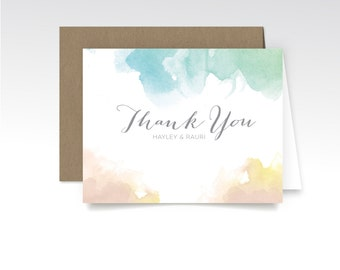 HAYLEY. Thank You Custom Cards & Envelopes. Watercolor Calligraphy Blush Pink Yellow Gold Teal. Printed Heavy Weight Folded Cards. Modern