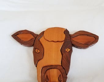 Handmade wooden cow wall hanging