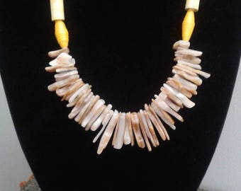 Necklace made with paper and Gold Lip Shell beads