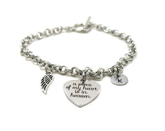 Remembrance Bracelet, A Piece Of My Heart Is In Heaven, Guardian Angel Bracelet, Angel Bracelet, Angel Jewelry, Angel Wings Bracelet