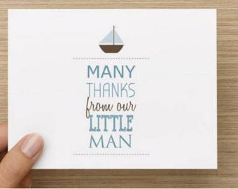 Baby thank you card: Personally designed baby boy shower card.  Nautical.  Multiple pack sizes available.