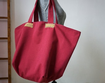 red-bordeaux maxi tote bag I Animal Bag I Shopping Bag I Market Bag I Strong canvas bag