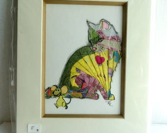 HANDMADE WALL DECOR for Child's Room Iris Folding Cat and Mouse
