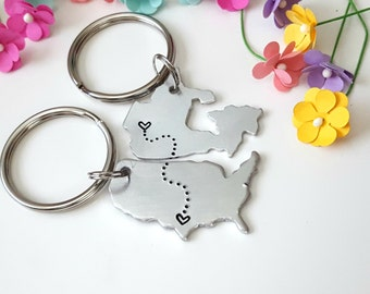 Long Distance Boyfriend Gift, Couple Keychains, Gift for Him, Anniversary Keychain, Personalized Keychains, Gift for Girlfriend, Christmas