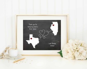 Thank You Gift for Parents - Mom Dad Thank You - Wedding Thank You - Grandparents Thank you - Long Distance Map Art Print - Mom Dad Gift