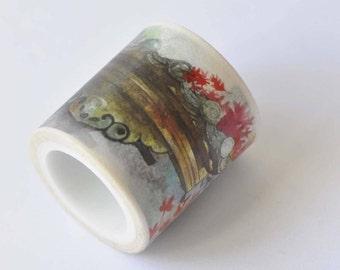Vintage Landscape Washi Tape/ Watercolor Planner Tape/ Japanese Masking Tape 40mm wide x 5m long No. 12376
