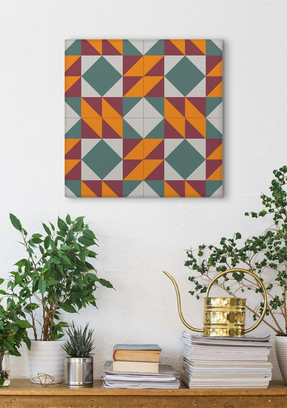 Modernist Print, Barcelona Tiles, Ceramic Tile Design, Wall Decoration, Canvas Wraps, Wall Art