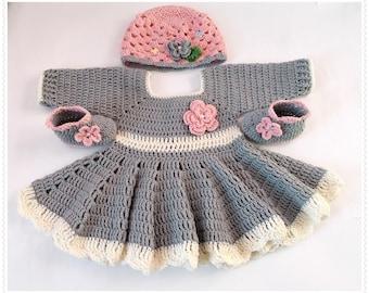 Crochet Baby Dress hat shoes, Baby set, Newborn dresses, gray pink baby dress, baby set, Baby hat, Gray champagne dress, knit baby dresses