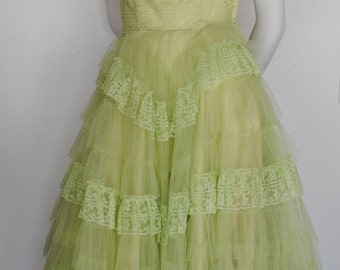 Vintage 50's Strapless Party Dress - 1950's Prom Cupcake Dress