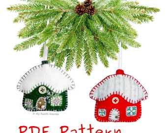 Snowy Cottage Christmas Decoration PDF Sewing PATTERN & INSTRUCTIONS Handmade Felt 7cm Tall