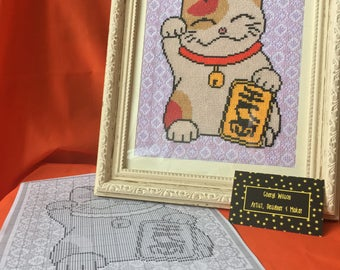 Maneki Neko - Beckoning - Chinese - Japanese Cat - Lucky - Money - Fortune -  Counted Cross Stitch PDF Pattern - Instant Download