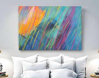 Extra Large Acrylic Abstract Colorful Painting, Giclee Print, Large Canvas, Paper, blue, red, orange, green,violet,black,yellow