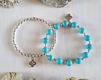 Turquoise Blue Stretchy, Beaded Beach Bracelets. Duo Stack