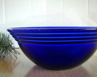 Hazel Atlas Modern Tone Cobalt Large Bowl, Vintage Atlas, Modern Serving Bowl