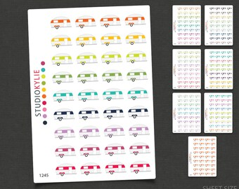 Caravan Planner Stickers - Trailer Planner Stickers -  Repositionable Matte Vinyl to suit all planners