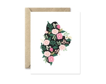 Maine Floral - Greeting Card