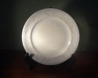Vintage China Staffordshire LARGE  White Ironstone Plate, IVY WREATH, J. Meir, 1860, Farmhouse Decor
