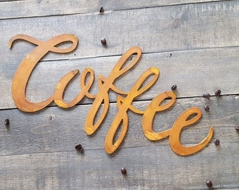 Coffee Word Metal Sign Farmhouse Fixer Upper Style Rustic Kitchen Decor Hand