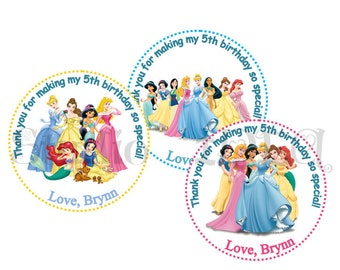 "Custom Princesses Printable Tags-Personalized Tags, DIY (You Print) 2"" Thank you Tags-Digital File"