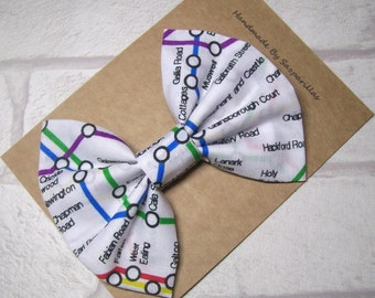 London Tube Map, London Underground, Big Hair Bow, London Themed, Hair Clip, Hair Accessories