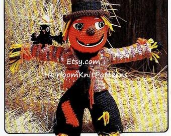 Pumpkin Head Scarecrow 24'' Vintage Crochet Pattern Toy Rag Doll Crochet Pattern Instant Digital Download PDF - 1096