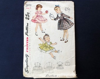 1950s Flared Girls Dress Vintage Pattern, Simplicity 2970, Size 4, Breast 23