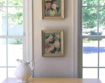 Vintage Paint By Number Framed Artwork,  Floral Still Life Painting, Original Acrylic Framed Art,  Pair of Floral Prints