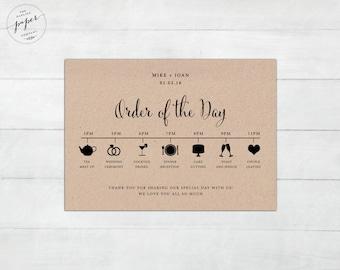 Wedding agenda | Etsy