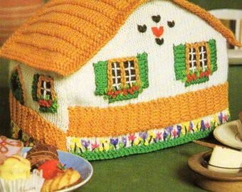 vintage Swiss chalet tea cosy cozy knitting pattern PDF cottage tea cosy novelty tea cosy DK light worsted 8ply PDF instant download