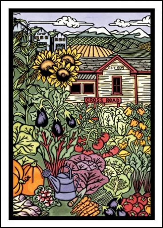 Garden - Single Blank Sarah Angst Greeting Card - Farmer's Market Veggie Co-op Card