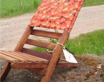 Kinder Klappstuhl, Holz Liegestuhl, Strandliege, Vintage Gartenstuhl    Erdbeerkaro Camping Beach Chair