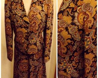 70s Bernard Holtzman Vintage Paisley Dress Suit Size 6