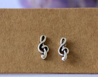 Sterling Silver Treble Clef Stud Earrings, Sterling Silver, Stud Earrings, Music, Minimalistic, Music Earrings, Studs, Earrings, Treble Clef