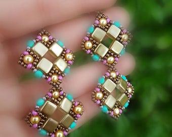 Long Beaded Earrings, Gift Mom Friend Sister, Very Light Earrings, Square Geometric Earrings,