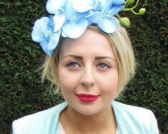 Light Blue Orchid Flower Fascinator Statement Headpiece Races Vtg Headband 1593