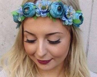 Turquoise Blue Rose Daisy Flower Headband Garland Boho Hair Crown Festival 3006