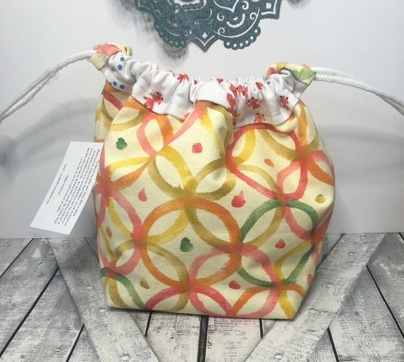 Knitting Project Bag-bright colorful celebration Lg Toadstool bag,Toad Hollow Bag,Crochet Project,Sock,yarn keeper,wedge knitting,drawstring