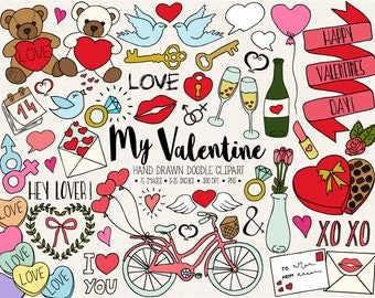 Doodle Love, Wedding Clipart. Hand Drawn Valentine's Day Clip Art. Romance, Heart, Arrow, Bicycle, Cupcake, Doodle Wedding Illustrations