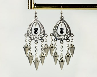 Silver Spike Earrings - silver boho earrings, silver chain earrings, silver tribal earrings, statement earrings, chandelier earrings