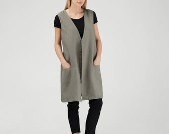 Khaki Green Linen Vest / Khaki Green Linen Waistcoat / Loose Fit Vest / Loose Fit Waistcoat / Wide Vest / Wide Waistcoat / Oversized Vest