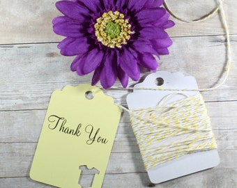 Yellow Baby Shower Tags Set of 20 - Gender Neutral Favors - Die Cut Baby Suit Thank You Tags - Lemon Shower Labels - Thank You Favors