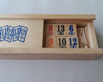 New complete wooden handmade rummy rummikub game children's travel game strategy family game board game in box gift for men children child