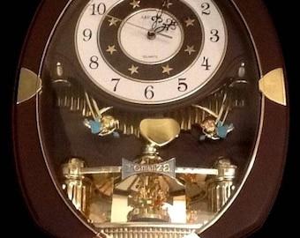 "Retro 18"" Romanza Cupid QUARTZ Wall CLOCK Brown Gold Moveable Pendulum Heart Vintage"