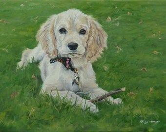 Custom pet portraits, custom dog portrait - oil painting on stretched canvas. ***Lowest price is 50% DEPOSIT price***
